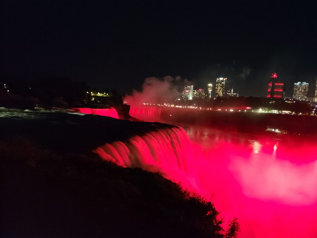 Niagara Falls lit up with Red Lights