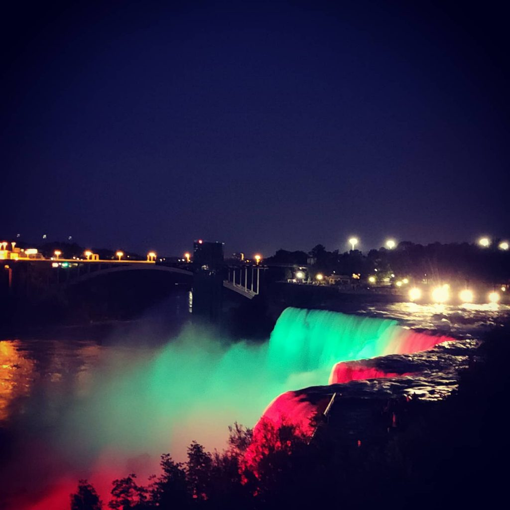 Niagara Falls lit up from Goat Island